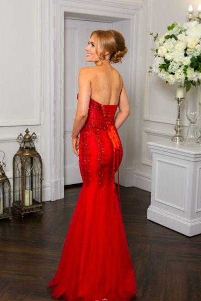 Red Prom Dress, Hotfrox, Evening Dress, PF9322, Embellished Fishtail Dress, Corset Fishtail Dress