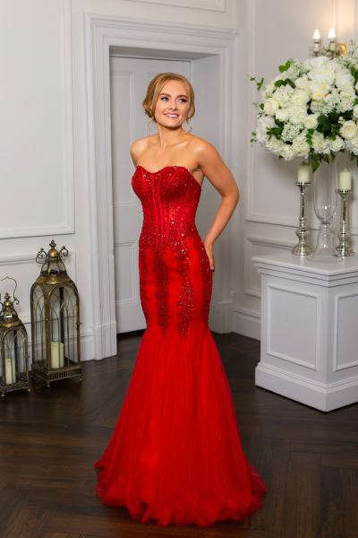 Red Prom Dress, Hotfrox, Evening Dress, PF9322, Embellished Fishtail Dress