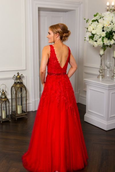 Red Prom Dress, Hotfrox, Evening Dress, PF9611, Low Back, Princess, Lace Prom Dress