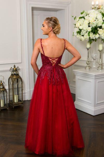 Wine Prom Dress, Hotfrox, Evening Dress, PF9727, Lace-p Back Princess Dress