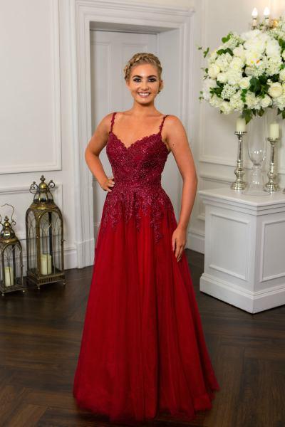 Wine Prom Dress, Hotfrox, Evening Dress, PF9727, Lace Princess Dress