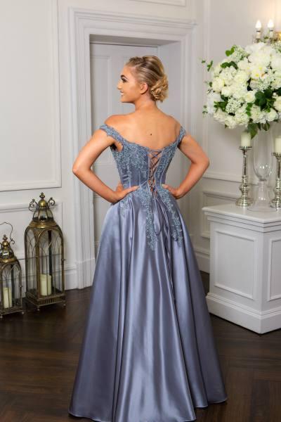 Pewter Prom Dress, Hotfrox, Evening Dress, PF9603, Princess Dress, Corset Prom Dress