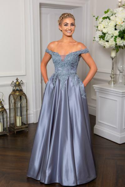 Pewter Prom Dress, Hotfrox, Evening Dress, PF9603, Princess Dress